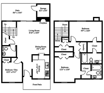 San Antonio apartments townhome floor plan